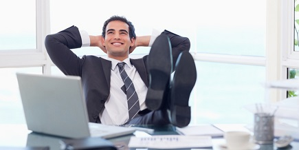 Satisfied businessman relaxing